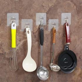 6个装创意无痕粘钩 可重复使用 真空强力吸盘挂钩