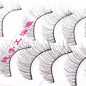 羽芙新品 一盒十对装 纯手工假睫毛棉线梗