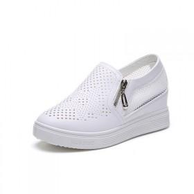 新款内增高网眼透气舒适百搭厚底松糕休闲鞋坡跟女单鞋