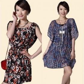 夏季雪纺连衣裙中长款圆领蝴蝶袖收腰修身显瘦大码女裙