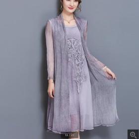 雪纺2017春夏新款长裙女假两件仿真丝连衣裙大码