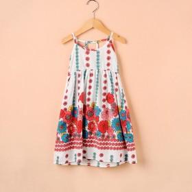 曼丝品牌纯棉薄透气吊带连衣裙时尚潮流田园碎花裙