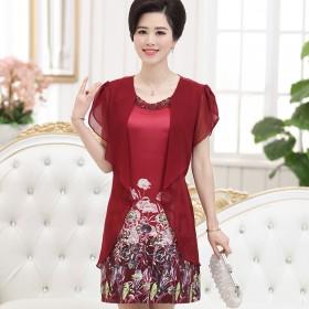 中老年女装夏装连衣裙短袖中长款宽松上衣40-50岁