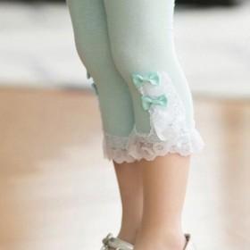 女童夏季全棉打底裤7分裤白色花边宝宝裤子