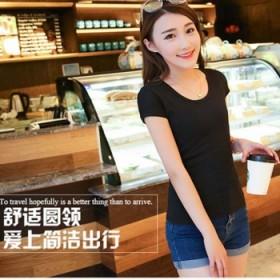韩版修身纯棉短袖显瘦白色v领夏季女生纯色打底衫