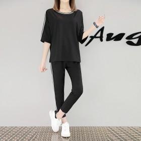 2017新款孕妇装时尚韩版中袖t恤九分裤运动套装