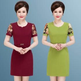 中老年夏季连衣裙40-50岁妈妈装短袖裙子