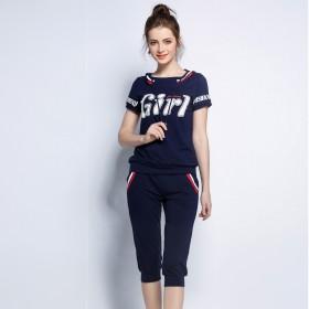欧美品牌大码女装夏装新款胖人胖MM休闲运动两件套装