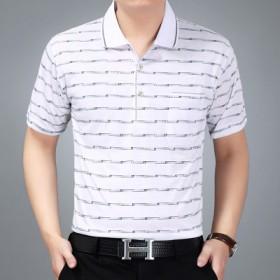 爸爸夏装40-50岁中老年人体恤polo衫中年男士