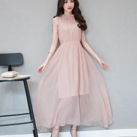 韩版新款女装无袖中长款2017夏雪纺连衣裙女