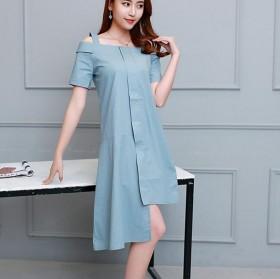 2017春夏新款连衣裙女短袖吊带露肩修身长裙子