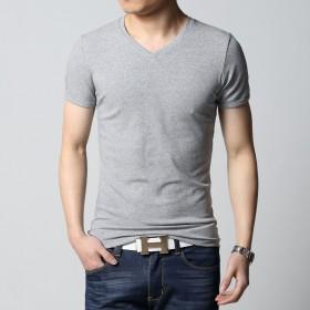 男士夏天短袖T恤韩版V领纯棉体恤夏季体恤打底衫