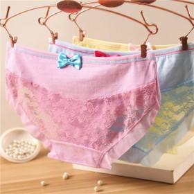 【3条装】糖果色女式内裤蝴蝶结性感网纱镂空三角裤