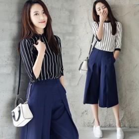 韩版气质条纹雪纺衫阔腿七分裤显瘦时尚两件套