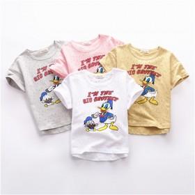 中小童宝宝儿童唐老鸭米奇透气纯棉漏洞短袖t恤半袖