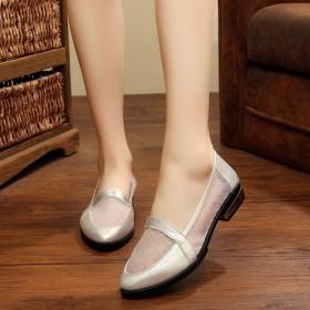 夏季新粗跟网纱女鞋老北京布鞋镂空舒适轻时尚妈妈鞋