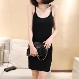 女装 2017春夏装 韩版中裙修身纯色套头吊带裙棉
