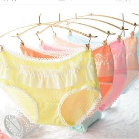 【3条装】 可爱蕾丝边性感三角内裤泡泡棉女式内裤