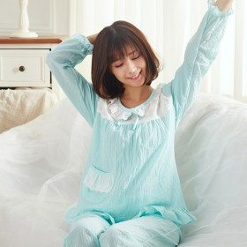 可爱水洗布纯棉睡衣套装不掉色不起球不变形