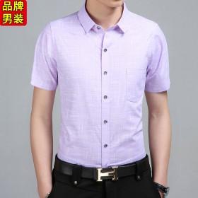 男士短袖衬衫纯棉 休闲免烫衬衣