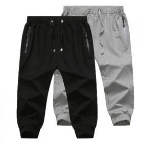 夏季男士薄款运动短裤单层纯棉收口七分裤沙滩裤大码跑