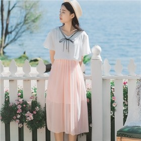 连衣裙子夏季高跟鞋连衣裙中长款T恤女短袖女鞋半身裙