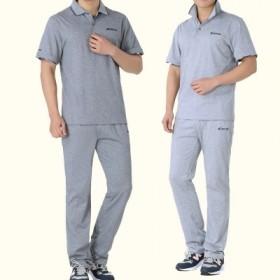 夏季新款休闲运动服装套装男中老年短袖t恤长裤两件套
