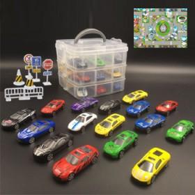 18只合金车模型玩具场景套装车库手提收纳盒送地图