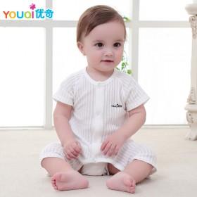 婴儿短袖连体衣纯棉夏装无骨爬服纱布哈衣3个月0-3