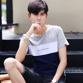 背心男韩版潮夏17新款男士短袖t恤半袖拼色学生纯棉