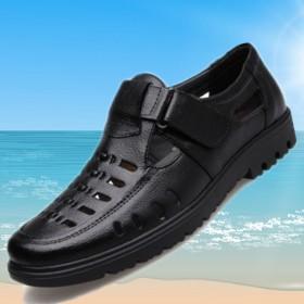 夏季大码男士凉鞋真皮凉皮鞋中年休闲透气镂空爸爸鞋