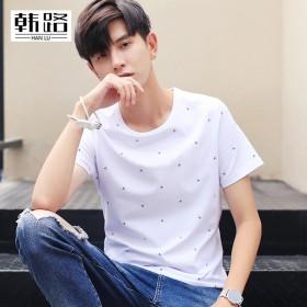 男短袖t恤2017新款夏装男士纯棉薄款休闲修身T恤