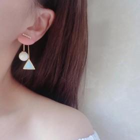 个性简约耳环女三角几何气质耳钉前后式长款韩国流苏百