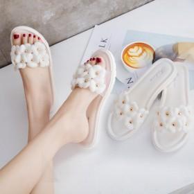 夏季新款韩版女鞋山茶花凉鞋欧美风沙滩平底水钻凉拖懒