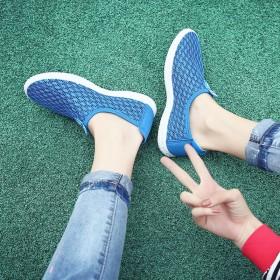 【包邮】 韩版潮流镂空情侣网鞋套脚透气一脚蹬男女鞋