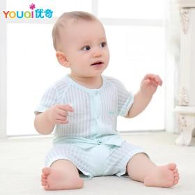 婴儿短袖内衣套装夏季无骨纯棉纱布新生儿衣服3宝宝睡