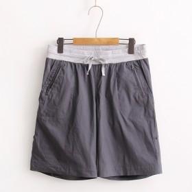 男士休闲短裤大码直筒型薄款时尚灰色潮裤外贸原单