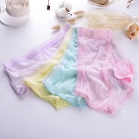 4条装女士冰丝内裤透明性感中腰三角裤