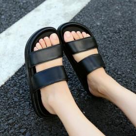 夏季韩版情侣款防滑室外拖鞋男女款厚底休闲纯色沙滩鞋