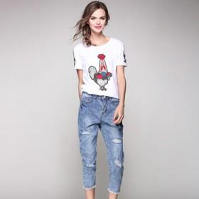 公鸡刺绣T恤牛仔破洞七分裤时尚两件套装裤女