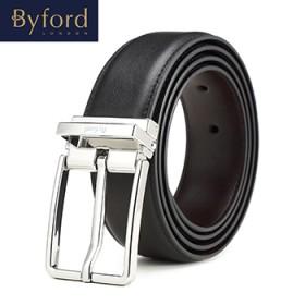 BYFORD商务休闲男士牛皮银色针扣腰带时尚耐磨皮