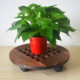 实木花盆托盘圆形可移动花架花盆底座