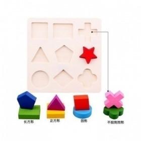 蒙氏早教儿童益智木制拼图玩具 几何形状板认知配对板