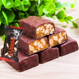俄罗斯进口糖果棕熊士力架巧克力夹心果仁零食500克
