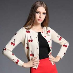 夏季款刺绣樱桃针织开衫空调衫小外套
