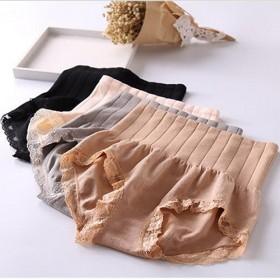 女装收腹内裤纯棉蕾丝边高腰弹力塑身三角裤纯色