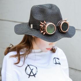 草帽女夏季小清新沙滩帽潮英伦风遮阳帽防晒太阳帽休闲