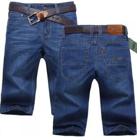 夏季薄款牛仔短裤男士五分休闲中裤七分直筒宽松牛仔裤