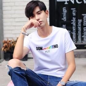 休闲背心男装潮夏装新品男式t恤学生纯棉圆领印花短袖