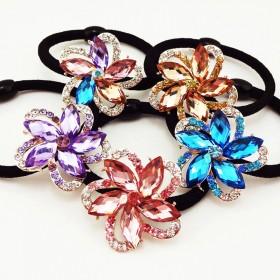 韩国水钻水晶发饰花朵发圈发绳头绳